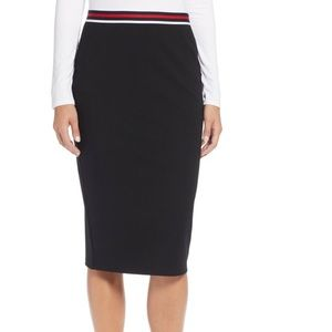 Halogen stripe waist pencil black skirt size L